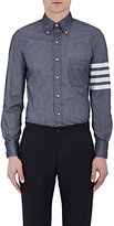 Thom Browne Men's Striped-Sleeve Cotton Shirt-BLUE
