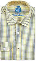 English Laundry Windowpane-Check Cotton Dress Shirt, Yellow/Blue