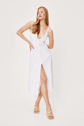 Nasty Gal Womens Cami Do It Cotton Midi Dress - White - 6, White