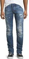 Pierre Balmain Distressed Skinny Moto Jeans, Darker Blue