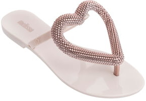 Melissa Big Heart Chrome Jelly Flip Flop