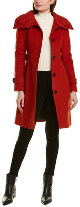 Mackage Maika Leather-Trim Wool-Blend Coat