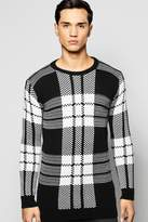 Boohoo Brushed Check Crew Neck Jumper