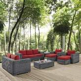 Alaia 9 Piece Rattan Sunbrella Sofa Seating Group with Cushions Brayden Studio Cushion Color: Red