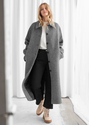And other stories Houndstooth Wool Blend Long Coat
