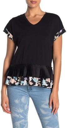 Donna Karan Woman Short Sleeve Peplum Hem Top