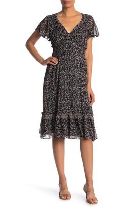 Max Studio Printed Ruffle Short Sleeve Dress