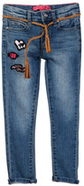 Betsey Johnson Heart Patch Skinny Jean with Braided Tassel Belt (Big Girls)