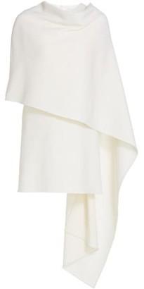 Oscar de la Renta Virgin Wool-Blend Cape Dress