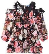 Truly Me Cold Shoulder Floral Print Dress (Big Girls)