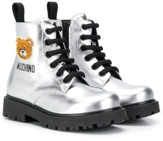 MOSCHINO BAMBINO Teddy lace-up boots