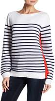 Joan Vass Striped Knit Lace-Up Sweater
