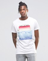 Pull&Bear T-Shirt With Miami Print In White