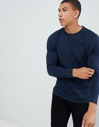 Asos DESIGN long sleeve t-shirt with crew neck in navy
