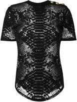 Balmain sheer python print t-shirt - women - Cotton/Polyamide/Spandex/Elastane - 36
