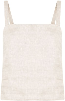 Venroy Ruched-Detail Square Neck Linen Top