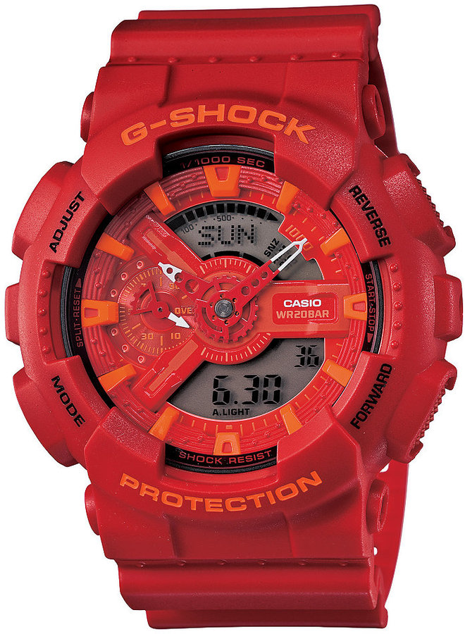 G-Shock Men's Analog-Digital Red Resin Strap Watch 51x55mm GA110AC-4A