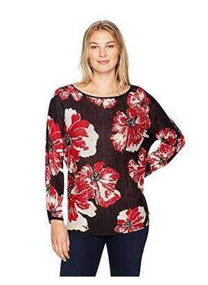 Ruby Rd. Women's Scoop-Neck Large Bloom Jacquard Sweater Pullover