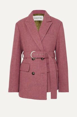 ANDERSSON BELL Oversized Asymmetric Belted Wool-tweed Blazer - Pink