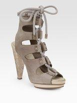 Suede Double-Platform Lace-Up Sandals