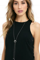 LuLu*s Crescent Moon Gold Lariat Necklace