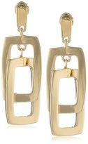 Kenneth Cole New York Shiny Gold Rectangle Link Drop Earrings