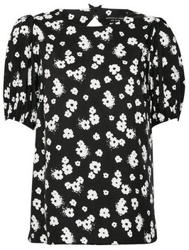 Dorothy Perkins Womens Black Keyhole Back Puff Sleeve Top, Black