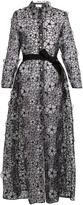 Sara Battaglia Floral-embroidered organza coat