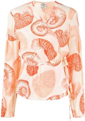 Baum und Pferdgarten Shell-Print Wrap Blouse