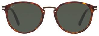 Persol 54MM Havana Round Acetate Sunglasses