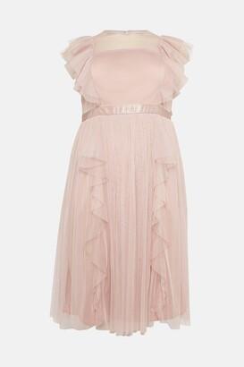 Coast Curve Shoulder Ruffle Mesh Pleated Midi Dress