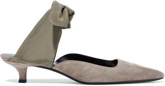 The Row Coco Suede And Crepe De Chine Mules