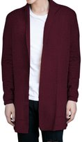 Pishon Men's Shawl Collar Cardigan Casual Solid Slim Fit Knitted Long Cardigans
