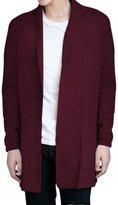 Pishon Men's Shawl Collar Cardigan Casual Solid Slim Fit Knitted Long Cardigans