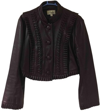 Temperley London Burgundy Leather Jacket for Women