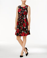 Charter Club Petite Printed Ponte Fit & Flare Dress
