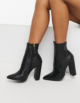 Qupid pointed sock boots in black