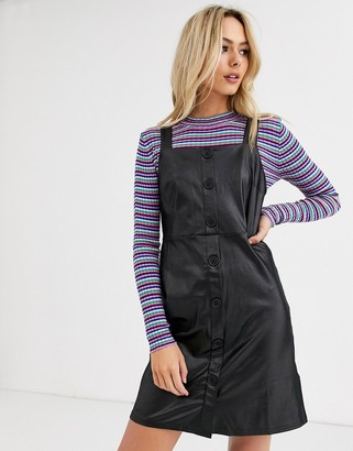 New Look button down leather look pinny in black