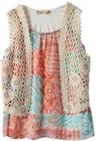 Speechless Girls 7-16 Chiffon Top & Floral Crochet Vest