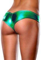 Honey-Q HQ Sexy Women Faux Leather Thong Shorts Panties Lingerie G-String Underwear-yingguanggreen