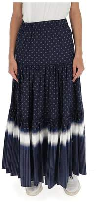 Tory Burch Contrast Striped Printed Peasant Maxi Skirt