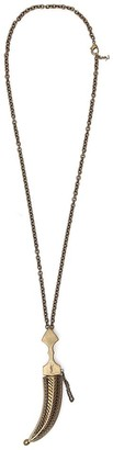 Saint Laurent Oversized Folk Saber Pendant Necklace