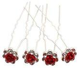 Swarovski Rbenxia Bridal Wedding Crystal Hair Pins Bridal Prom Clips Pack of 20pcs Red