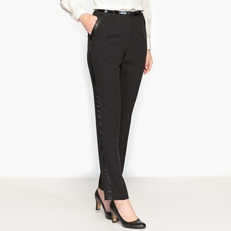 Anne Weyburn Couture Trousers with Black Satin Stripe, Length 30.5""