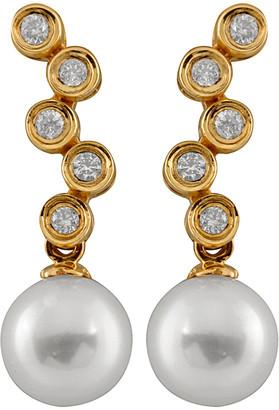 Splendid Pearls 14K 0.20 Ct. Tw. Diamond & 7-7.5Mm Akoya Pearl Drop Earrings