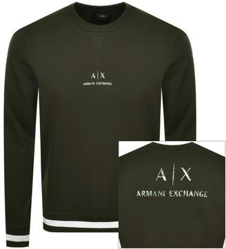 Armani Exchange Crew Neck Logo Sweatshirt Green