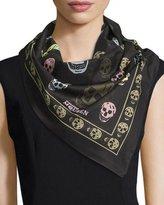 Alexander McQueen Cotton Skull Scarf, Black/Beige