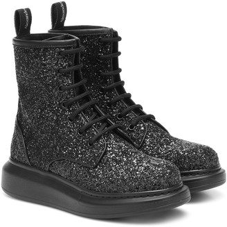 Alexander McQueen Glitter leather ankle boots
