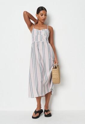 Missguided White Stripe Linen Look Cami Midi Dress