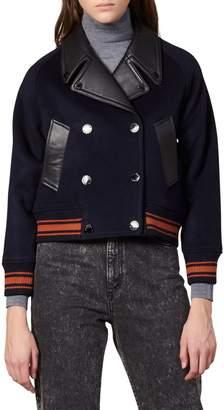 Sandro Leather-Trim Wool-Blend Jacket
